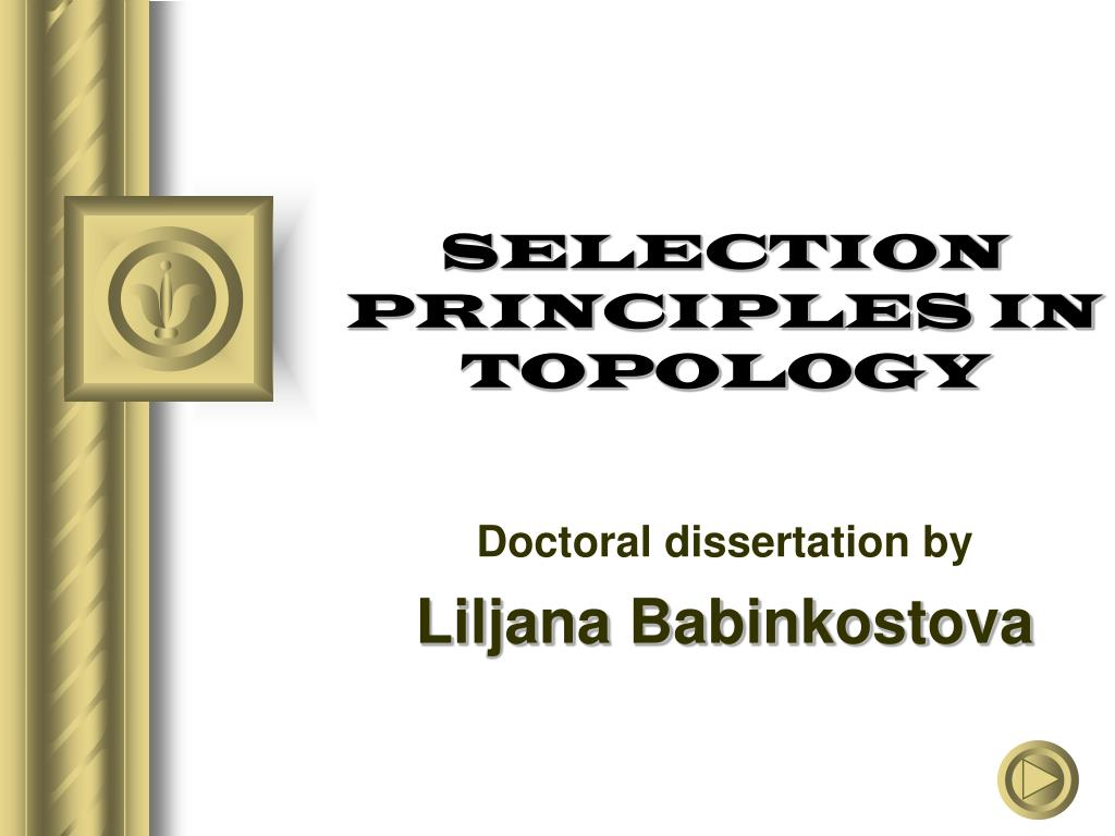 selection principles in topology l.
