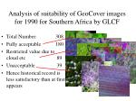 analysis of suitability of geocover images for 1990 for southern africa by glcf