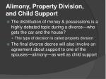 alimony property division and child support