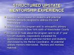 structured upstate mentorship experience