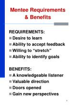 mentee requirements benefits