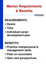 mentor requirements benefits