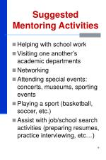 suggested mentoring activities