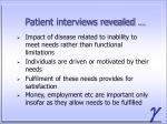 patient interviews revealed