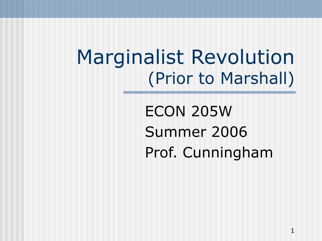 marginalist revolution prior to marshall l.
