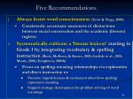 five recommendations