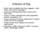 criticism of kay