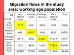 migration flows in the study area working age population