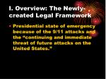 i overview the newly created legal framework