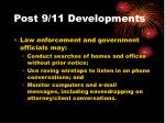 post 9 11 developments
