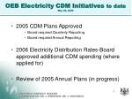 oeb electricity cdm initiatives to date may 26 2006