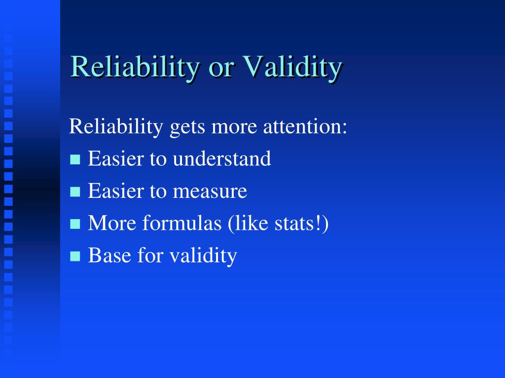 reliability or validity l.