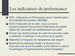 les indicateurs de performance