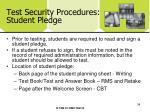 test security procedures student pledge