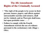 the 4th amendment rights of the criminally accused