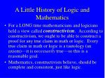 a little history of logic and mathematics