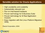 sensible solution for oracle applications