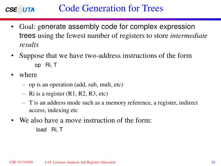 Code Generation for Trees