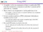 using cfg