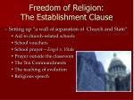freedom of religion the establishment clause