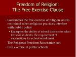 freedom of religion the free exercise clause