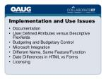 implementation and use issues