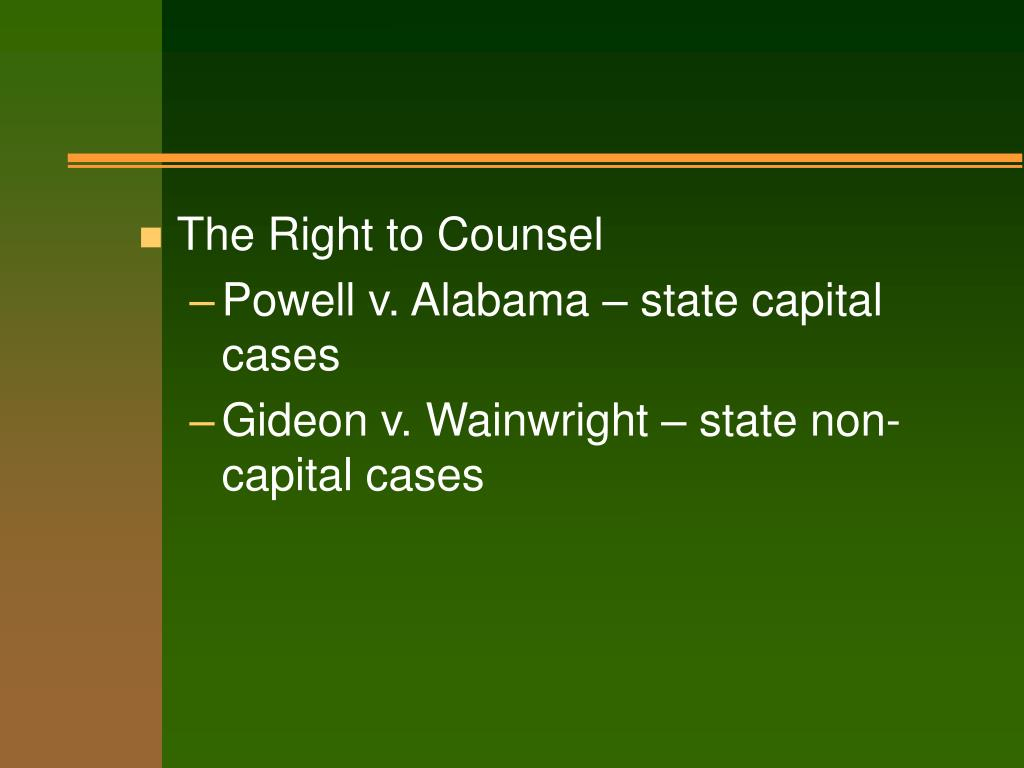 The Right to Counsel