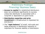 preliminary findings financing business saavy