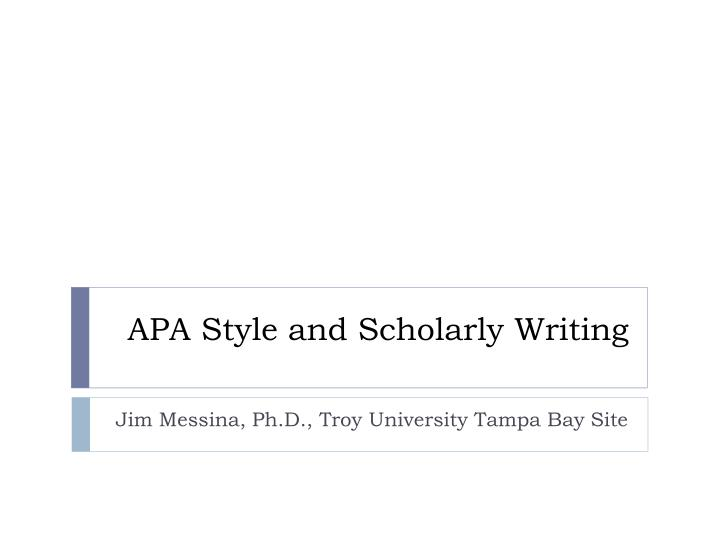 apa style and scholarly writing n.