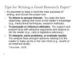tips for writing a good research paper