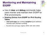 monitoring and maintaining eigrp