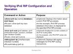 verifying ipv6 rip configuration and operation8