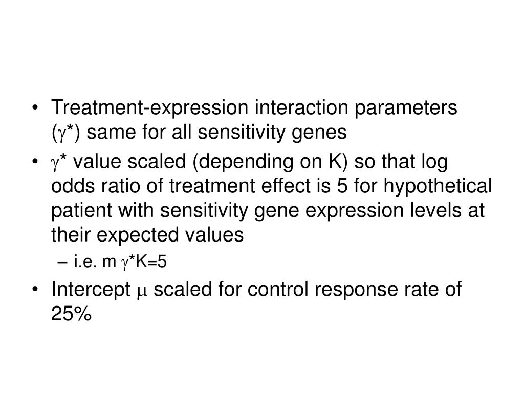 Treatment-expression interaction parameters (