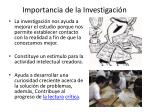 importancia de la investigaci n