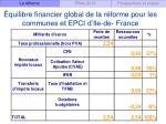quilibre financier global de la r forme pour les communes et epci d ile de france