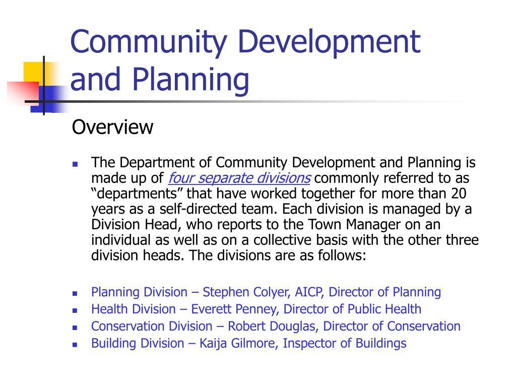community development and planning l.