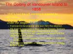the colony of vancouver island to 1858