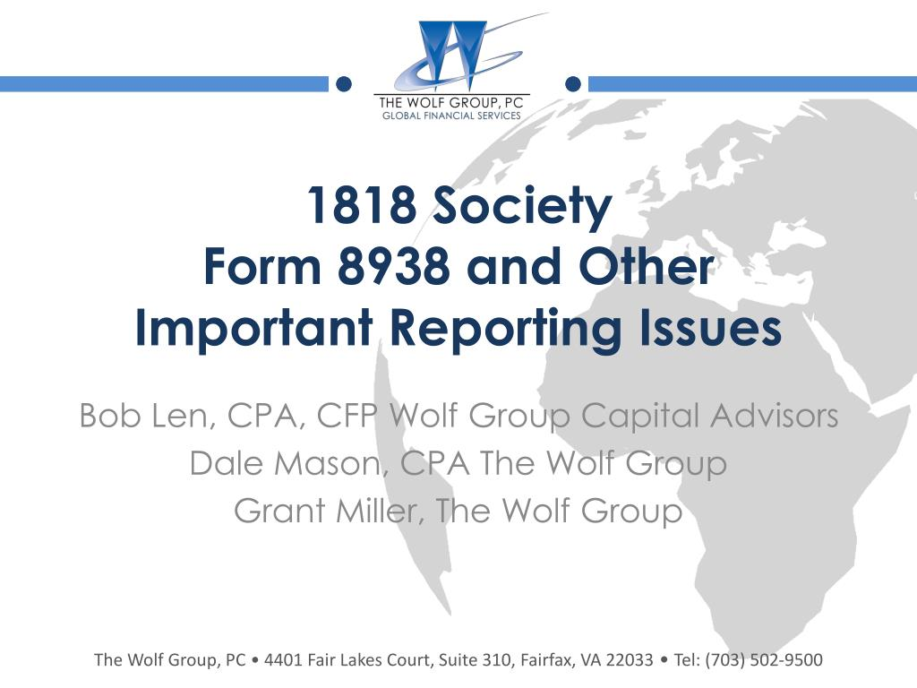 1818 society form 8938 and other i mportant r eporting i ssues l.