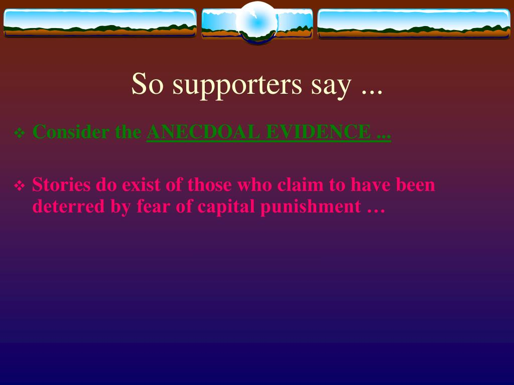 So supporters say ...