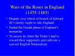 wars of the roses in england 1455 1485
