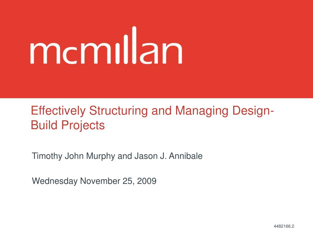 effectively structuring and managing design build projects l.