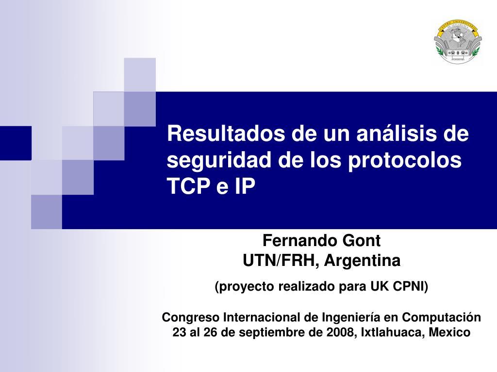 resultados de un an lisis de seguridad de los protocolos tcp e ip l.