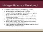 michigan roles and decisions i