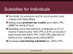 subsidies for individuals