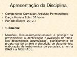apresenta o da disciplina