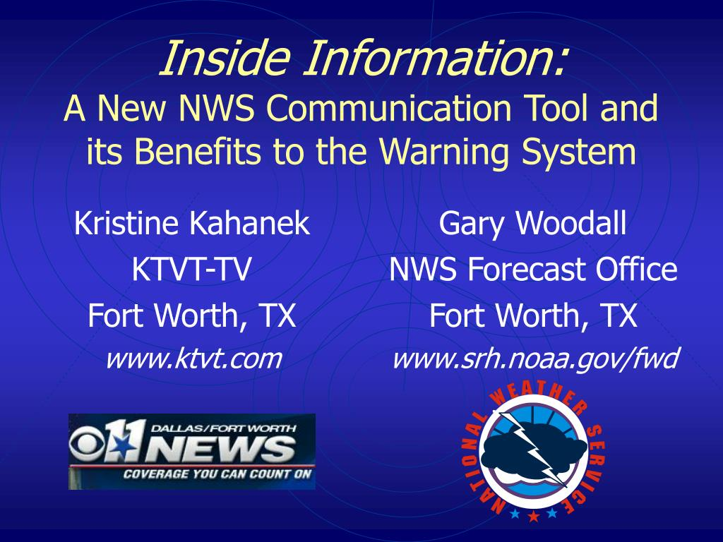 inside information a new nws communication tool and its benefits to the warning system l.
