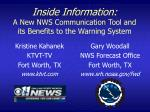 inside information a new nws communication tool and its benefits to the warning system
