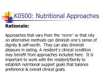 k0500 nutritional approaches