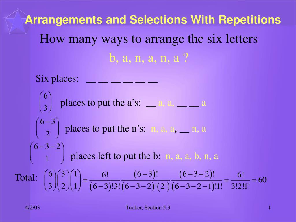 arrangements and selections with repetitions l.