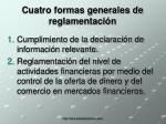 cuatro formas generales de reglamentaci n